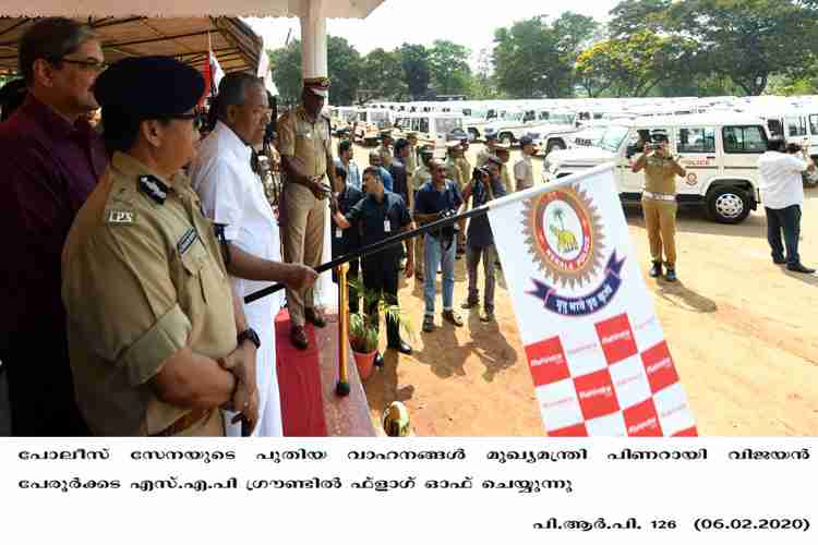 Chief Minister Pinarayi Vijayan flags off new police vehicles2020